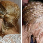 Wedding day hairstyle: Crimped low side bun
