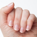 Wedding day nail design tutorial: Pearl French tip